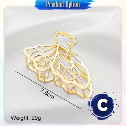 [Little B House]Korean Gold Pearl Claw Clips Hair Clip Simple Hairpin Women Fashion Accessories哑金珍珠发夹鲨鱼抓夹头饰-H46